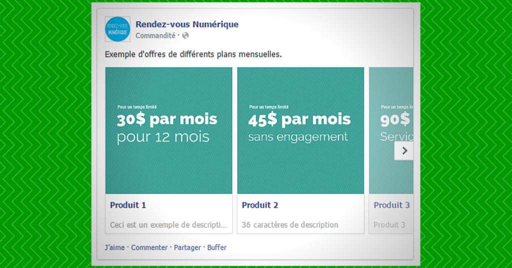 Facebook publicité multiproduits