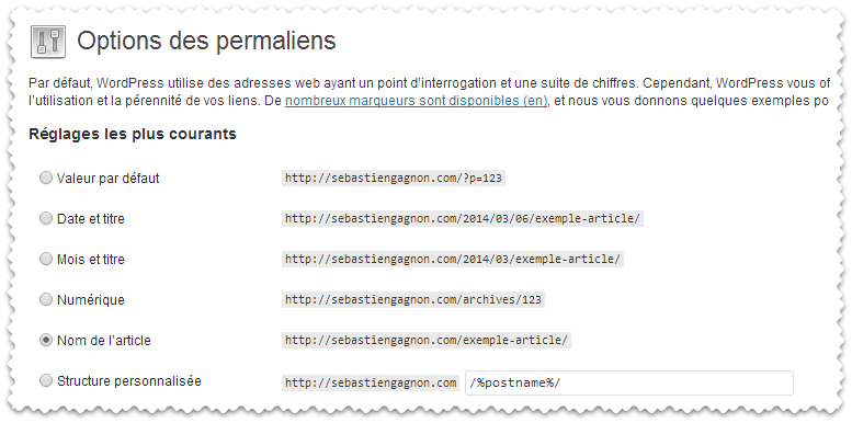 Options des permaliens WordPress