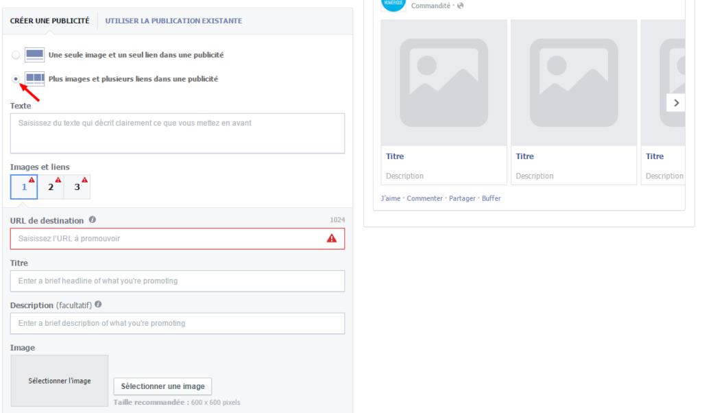 Pub Facebook plusieurs produits
